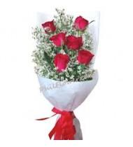 Half Dozen Red Flowers