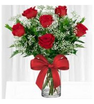 Half Dozen Red Flowers in Cristal